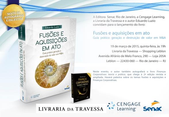 CONVITE FUSOES E AQUISIÇÕES EM ATO 3 com livro LIVRARIA TRAVESSA